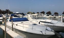 Fine example of one of Sea Ray's most popular boats. Well maintained and low hours. Please call for a showing. Trades considered. CANVAS BIMINI TOP (BLUE) SIDE/AFT CURTAINS DECK ANCHOR W/LINES ELECTRIC WINDLASS FORWARD ARCH SPOTLIGHT TRANSOM SHOWER