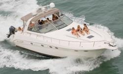 The closer you look, the more you find to like about the 460 Sundancer®. To begin with, she's easy-handling and superbly seaworthy. Go below, and you find a luxurious interior with two private staterooms, two full heads and room to sleep many friends. She
