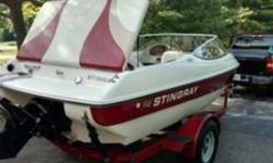 1999 Stingray Boat Co 190RX Everything works great Mercruiser(4cyl) 135hp New Bimini top Dual batteries Kenwood CD New tires on trailer New prop Registered through 2019 Clean title Fish Finder Fish Box Located in Machesney Park IL Financing Nationwide