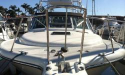 """This Tiara 3500 Open is rigged for """"Southern California"""" fishing. A wide 13'3"""" beam, large cockpit and tower makes an excellent platform for fishing. Other features include two bait tanks,transom door, in-deck fish box, integral swim"""