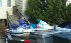 2 jet skis with double trailer