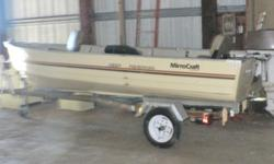 Great economical fishing package, good working condition, well maintained. Size is easy to maneuver and trailer to any location. 1983 Mirrocraft Fisherman Model F-3656, Tan Color. Aluminum Boat, 3-4 Person Capacity, 5?4? Beam, 325lbs. Rod Holders, Lights,