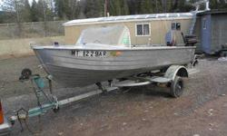 1973 Mirro Craft 14'Aluminum fishing boat with tilt trailer. There are 2 swivel seats in front and a aluminum abench seat back by the motors.It has a 25hp Meriner electric start motor and a 4hp trolling motor. We are asking $1,800 but will consider all