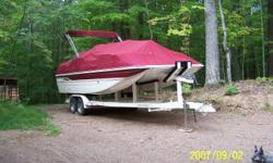 Excellent condition, always kept under cover, cabernet color, preferred package, snap in berber carpet, bow filler cushions, bow & aft ladders, 10 disk cd player, 17 gallon fresh water washers, dual battery switch, bimini top, custom cover, Harris Eagle