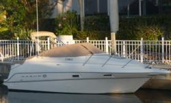 Only 260 hours on this well maintained vessel! A few of the notable options include: Mercruiser 5.0L, shore power air conditioning/heat, cockpit carpet, bimini top, mooring cover, Fortress anchor, Garmin GPS/Map 172C, Raytheon fishfinder L365, Horizon VHF