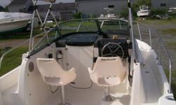 "BROKERAGE - PRICED TO SELL! This 21'7"" Walk-around is the ""all-around"" boat. Fishing? it's got 23 rod holders! Stay the night? it's got a clean v-berth with porta-potti. It also has full curtains for those colder fishing days in the fall. This is one of"
