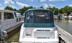 Need a slip to park your express cruiser? You will once you view this very clean 32' cruiser. Well maintained by Arnolds Boats and stored in our warehouse during the off boating season. Service records are available. All systems work and run well. Boat