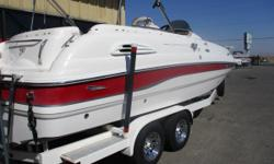 - Disk Brakes - Spare Tire and Carrier - Surge Brakes - 7.4 Volvo Penta - Boat Cover - Depth Sounder - Radio VHF - Stereo - Pressure Water System - Batteries- Dual w/ Switch  - Docking Lights - Dual-Prop - Porta Potti - Double Bimini   Nominal