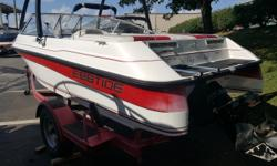 Nice inexpensive runabout to get you out on the water. This 18' open bow boat will run great with the 190 HP V-6. Vinyls are in great shape. Fiberglass looks good too. Large sunpad to get your tan on. Another option installed is a wakeboard tower. Another