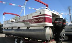 Check out this very clean 2000 Fisher 240 Freedom DLX pontoon boat at Cowboys RV Marine. It?s powered by a very low emission Mercury 115 outboard motor with a stainless steel propeller! Equipped with double bimini, docking lights, spare tire, lowrance