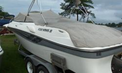 2000 Four Winns 235 Sundowner priced below book value. 7.4L Volvo Penta GI motor to really move the boat through the water. Great trailer. Trades considered. ACCESSORY ANCHOR W/LINES FENDER W/LINES CANVAS BIMINI TOP CAMPER CANVAS COCKPIT COVER COCKPIT