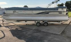 Big pontoon at a great price. Has a tandem axle trailer, 115hp Johnson. Ready for a great day on the water Engine(s): Fuel Type: Gas Engine Type: Outboard Quantity: 1
