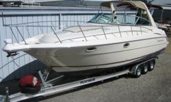 2000 Monterey 322 Cruiser (36?3? X 10?10?), Twin MerCruiser 7.4L MPI 310 HP (Each) B3, 2017 Nextrail Tri-Axle aluminum trailer with 4 wheel disc brakes, aluminum tread plates, spare tire and mount. This boat Is White with Burgundy pin stripes and Black
