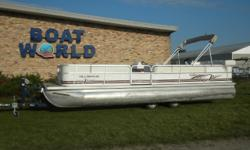 2000 Odyssey 25' Pontoon & 90HP Johnson. Motor Runs Great. This Pontoon Features Large Front Bench Seating That Folds Into Full Bed And Lots Of Storage, Large Rear Wrap Around Seating With Lots Of Additional Storage, Rear Sun Deck, Comfortable Swivel Helm
