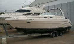 Sleeps 6! Comes with 3 axle trailer. Has A/C, generator, fridge, microwave, stove, ladder, aft cabin canvas, camper top, storage cover, T.V., DVD, depth sounder, GPS, compass, VHF radio, twin I/O Mercs, safety equipment, & so much more! Beam: 12 ft. 0