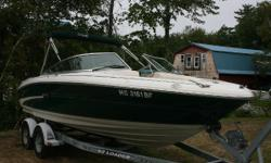This 2000 Sea Ray 190 on its trailer is a very nice boat, with low hours. It is in good condition, and would make a great runabout boat for family, and on water activities. It is powered by a MercCruiser 4.3 Liter, 190/HP IO. The engine has low hours