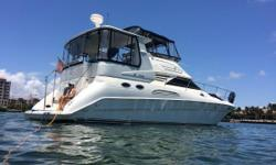 Beautiful aft cabin motor yacht, with a roomy 3 stateroom 2 head layout and cherrywood interior.  She has a preferable twin Cummins 450hp diesel engine package with low hours.  The boat has a stainless steel davit system on the platform, and she