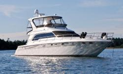 Upgraded to 660Hp C-12 Caterpillar Engines with Twin Disc transmissions! 10Kw Westerbeke Generator in sound shield with less than 12 hours! Kept under cover and professionally maintained.  This beautifully styled flybridge yacht with three staterooms