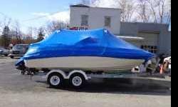 21ft Sea Ray Sundeck and Venture trailer. Boat has a little over a 100hrs. Sunbrella Bimini top and cockpit cover 5.0 302ci with 220hp Used in fresh water Chevrolet Engine Seats 10 people Trailer included Skis, wake board, and inner tube. Lake use only at
