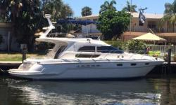 PRISTINE!!...Nicest SEALINE F44 FLYBRIDGE on the market!! With LOW HOURS too SECOND WIND has been METICULOUSLY maintained by her 2nd owner with an open checkbook. She was kept up north in CT for several years where she was dry stored for most of the year