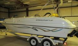 2000 Starcraft Aurora 2015 powered by a 4.3l Mercruiser Engine just in on consignment. Good condition, runs great, has depth sounder, JVC AM/FM/CD Player, Sink/Fresh Water System, Bimini Top, Docking Lights, Tandem Axle Bunk Trailer and more.Stop in today