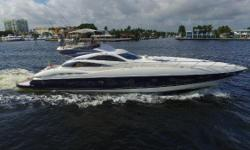"""**WILL BE FEATURED AT PALM BEACH SHOW MARCH 17-20** **RECENT $50,000.00 PRICE REDUCTION** """"Rock Moon"""" is a very unique 75' Predator with a Custom Flybridge. """"Rock Moon"""" had a major refit including new MAN 1550CR Diesels installed giving her a top speed of"""