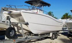 Powered By Twin 2015 Evinrude E-TEC 150 HP Outboard Motors That Have 100 Hours And Warranty Till 01/21/2022. Equipped With Float On Tandem Torsion Axle Aluminum Trailer, T-Top, Swim Ladder, VHF Radio, Stereo And New Garmin 1040 SX GPS/ Fish Finder. This