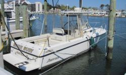 Stylish walk around with over sized custom hard top and full curtains. Fish riggedwith125 qt live well, fish box, rear tackle stations, rocket launchers, rod storage, spreader lights, raw water wash downand more. Dependable
