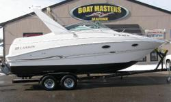 2001 Larson 270 CABRIO, WE BUY USED BOATS CASH! Clean Boat! 2001 Larson 270 Cabrio Cruiser with Volvo 7.4 GI DP 300 HP Engine and Trailer. Trim Tabs, A/C, Windlass, Premium Sound System, Cockpit Cover, Full Enclosure, V-Birth Filler Cushion, Dockside