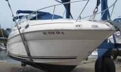 SINGLE 260HP MERCRUISER WITH 158 HOURS, DEPTH SOUNDER, GPS, VHF RADIO, HORN, TRIM TABS, STEREO, CD CHANGER, HOT/COLD WATER PRESSURE, REFRIGERATOR, WET BAR, STOVE, MICROWAVE, AIR/HEAT, SWIM PLATFORM, BOTTOM PAINT, BIMINI TOP, SIDE CURTAINS, AFT CURTAINS,