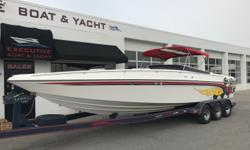 PRICE JUST REDUCED TO $29,900! Twin MerCruiser 350 cid 300 hp engines, aprx 453 hours Twin MerCruiser Bravo I sterndrives w/stainless steel props Drive showers Aprx 69 mph on speedometer at Lake Powell Aprx 74 mph at Lake Havasu Dorsey 3-axle trailer