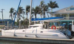 2001 FOUNTAINE PAJOT ATHENA 38' CATAMARAN SAILBOAT, powered by twin Yanmar diesel 18 hp engines with Volvo sail drives. Four spacious double cabins sleeps 8 people comfortably with 2 heads one on each side with new lights in each, new electronics replaced
