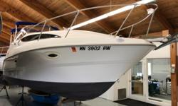 The Bayliner 2655 Ciera has nice lines and a very comfortable layout. A generous transom door provides easy access from the swim platform into the single level cockpit. The cabin is bright and airy with good headroom and a functional layout. Power comes