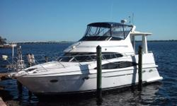 This beautiful 396 carver extended salon is the perfect cruising and live aboard vessel. She is in great condition with Cummins diesels and with all the amenities. Vessel just hauled - Fresh Bottom Paint, Buffed and Waxed, New Canvas, New Exterior Carpet,