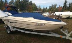 Just traded in towards a new boat. Second owner, locally kept and maintained by the dealer. Powered with a Volvo Penta 4.3GL (Carb) 190HP SX Drive. Comes with a galvanized EX loader bunk trailer. Stereo, cockpit and bow covers, bimini top, flip up bolster