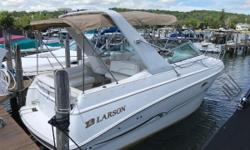 This Larson would be a great weekend boat with lots of cabin space for sleeping. Some of the nice features include: Depth Indicator, Raytheon VHF Radio, Origo Single Burner Electric Stove, Origo Microwave, Wiper on the starboard side, Bimini Top