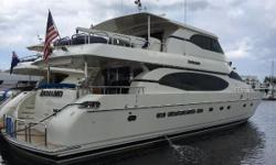 This 82 Monte Fino 'Andiamo' is one of the largest volume enclosed bridge motor yachts available in this size range. The widebody design on the main deck and enclosed bridge offer tremendous interior living spaces truly utilizing the 20' beam.