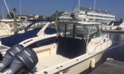 Great fishing boat with a huge cockpit, nice electronics, outriggers, very well maintained. Hour meter says 447, In the water ready for the spring fishing season.
