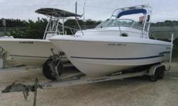 This beautiful 2001 Pro Line 22 walk around is located at Harbor View Marine in Pensacola. This 2001 Pro-Line 22 WA is powered with a mercury 200 Saltwater motor and comes with an aluminum tandem trailer, bimini top, cushions, spare tire with mount,