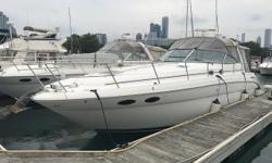 Located in downtown Chicago, this well equipped 380 is priced to sell. The owner recently upgraded the stereo to a Fushion with JL Audio speakers. The boat is well equipped with a generator, autopilot, radar and chart plotter. Trades considered. CANVAS