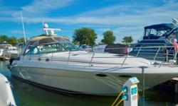 This 410 Express Cruiser features the desirable and efficient Cummins 6CTA diesel straight inboards. The forward engine location not only allow for easy access to the engine compartment, but also adds to the functionality of the spacious cockpit. The two