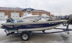 2001 Smoker Craft 160 Mag Pro - Side Console - Bimini Top - 55lb Minn Kota Trolling Motor - Seats - 3 - 70HP Yamaha - Trailmaster Trailer **This package includes boat, motor, and trailer.**  Nominal Length: 16' Engine(s): Fuel Type: Other Engine
