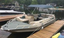 2001 Tracker Marine Party Deck 21 2001 bass tracker party boat. 2 90 hp mercury runs great! Radio with new speakers. Two fishing chairs trailer and much more AM FM Anchor Bimini Compass Depth Fish Finder Props Located in Fairfield NY Financing Nationwide