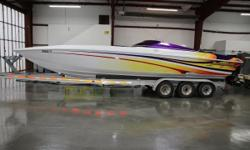 This boat will turn heads nearly as fast as the props will spin. The freshly rebuilt engines will sing a song that will make a Harley rider misty. If you're looking at this boat, you already know!  The engines and out-drives were