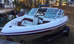 Fast 250hp open bow Tahoe. Built by Tracker boats, this boat has a good reputation for reliability. 5.7ltr V-8 250hp. Bimini top, full cover, interior and gelcoat in great condition. Includes trailer. Buy now at winter pricing. Nominal Length: 19'