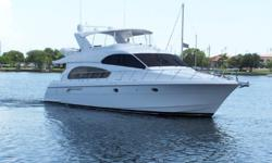 AccommodationsThis yacht features 3 staterooms and 3 heads has a full Beam Master and a pilothouse lower helm with a second station bridge helm.The classic Hatteras styling with the large frameless windows provides abundant natural lighting in the
