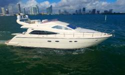 2002 Aicon 56 Flybridge ready to cruise Interior Refit 2015 940 Engine Hours (1,000hr service complete) 1500 Generator Hours 1,000 Hour Service already performed to the tune of $12,000 Hydraulic Passerelle Yanmar (MASE) 12kW Generator Brand New Raymarine