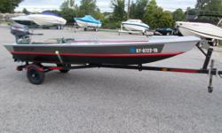 02 Alumacraft 1542. Boat and trailer in Excellent condition. Previous owner did some modifications to boat: Front deck including storage, adjustable engine mount, bimini top. Will not be disappointed!! Beam: 5 ft. 2 in.