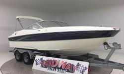 Go to our web site for updated info: midwayautoandmarine. com. Over 75 used family boats in stock. All with warranty. Delivered all over the U.S. and Canada. Need a very nice and very roomy 21' V8 runabout? This is it!! Clean and ready to go! New cover,