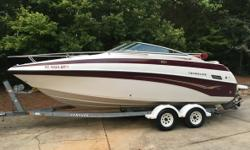 2002 Crownline 230 CCR White and Maroon exterior Crownline 230 CCR with galvanized Venture Tandem axle trailer with surge brakes (replaced brakes and lines in 2011). Boat trailer & interior are immaculate always stored indoors only 83 hrs on Volvo Penta